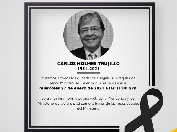Este miércoles serán las honras fúnebres de Carlos Holmes Trujillo