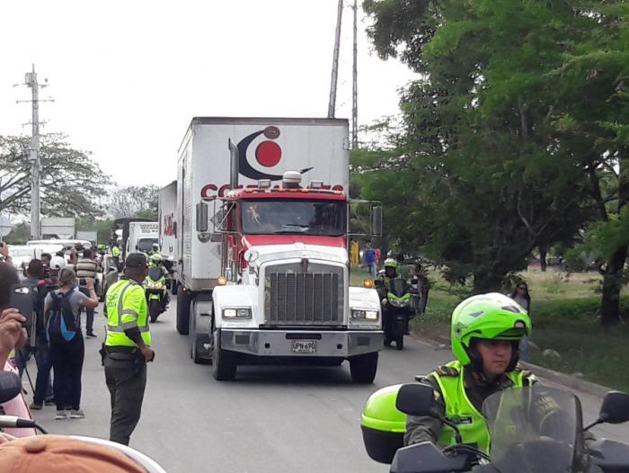 Ayuda humanitaria arribando a la frontera de Colombia con Venezuela